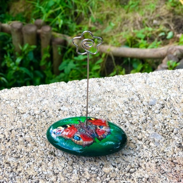 Photo or memo holder with peacock butterfly design