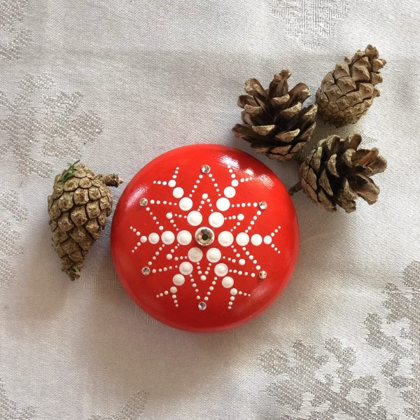 Red snowflake stone close up
