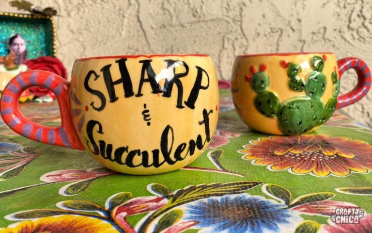 Sharp and succulent mug! #craftychica #succulentmug #pyop