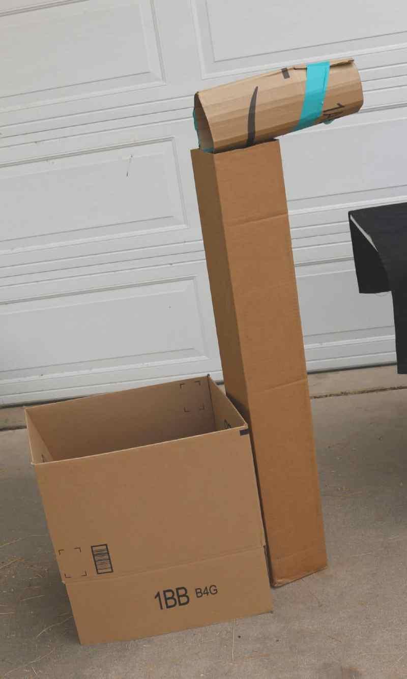 Llama costume, boxes.