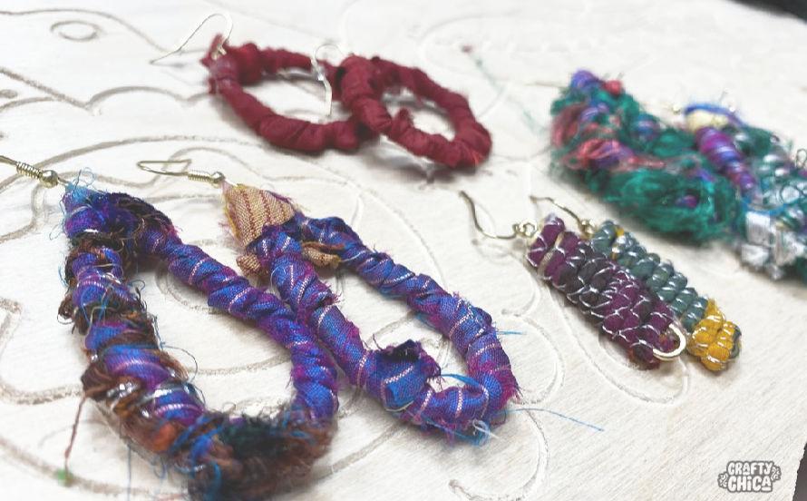How to make sari ribbon earrings #craftychica