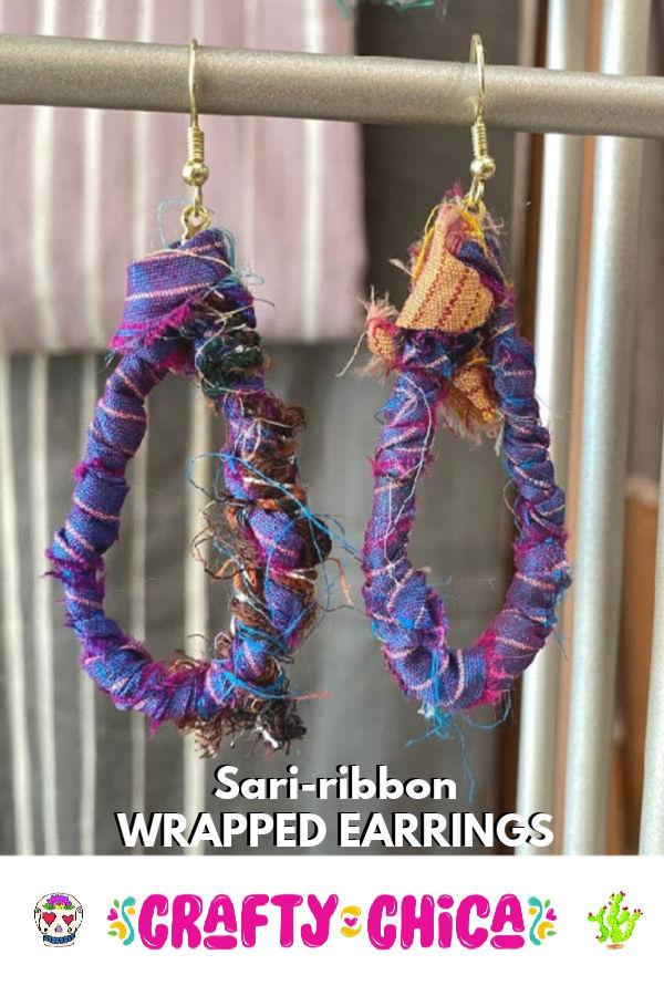 How to make sari ribbon earrings #craftychica