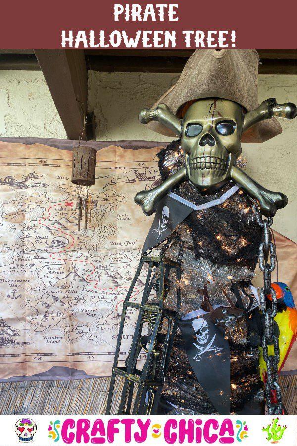 pirate halloween tree #craftychica #treetopia #ad