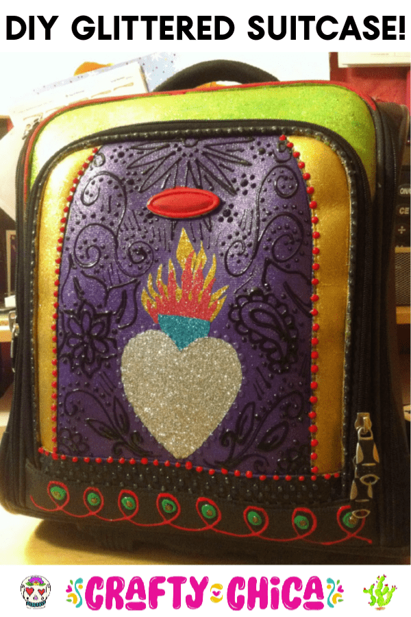 DIY Glittered Suitcase by Crafty Chica #glitterideas #craftychica #glittercraft #travelcraft