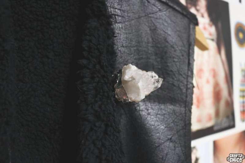 Soldered crystal brooch