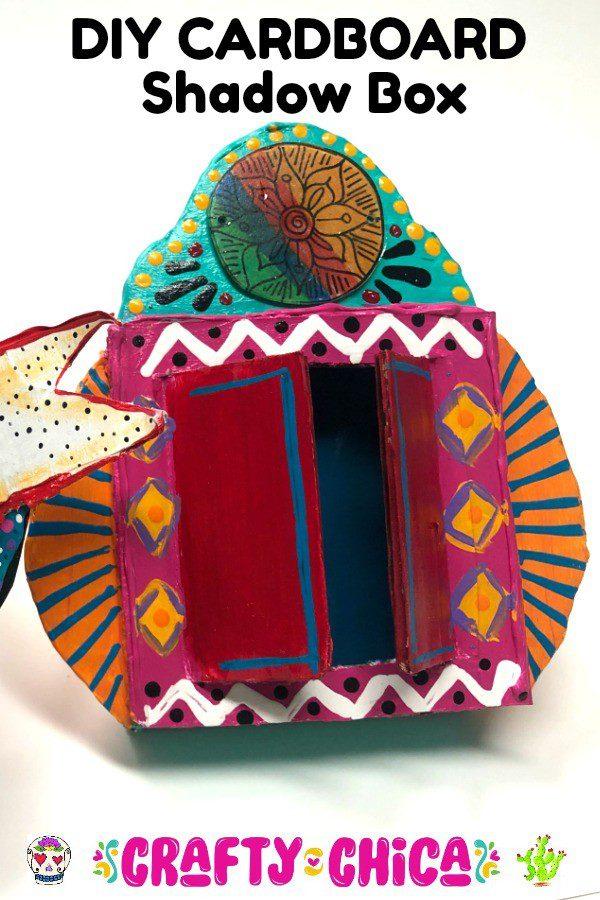 How to make a cardboard shadow box #craftychica #cardboardcrafts
