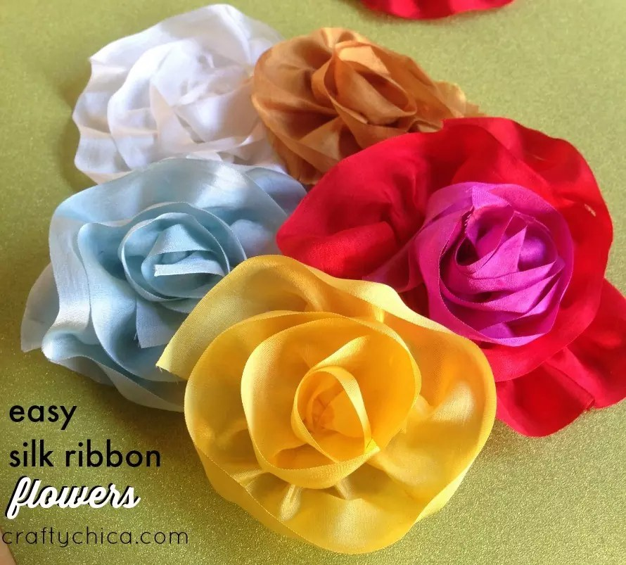 Easy silk ribbon flowers by crafty chica.