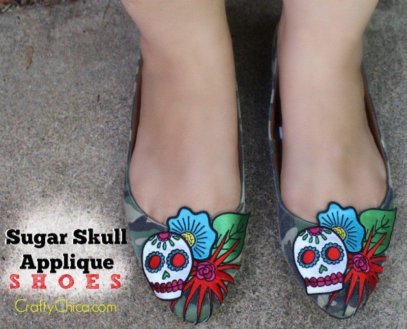 Sugar Skull Applique Shoes
