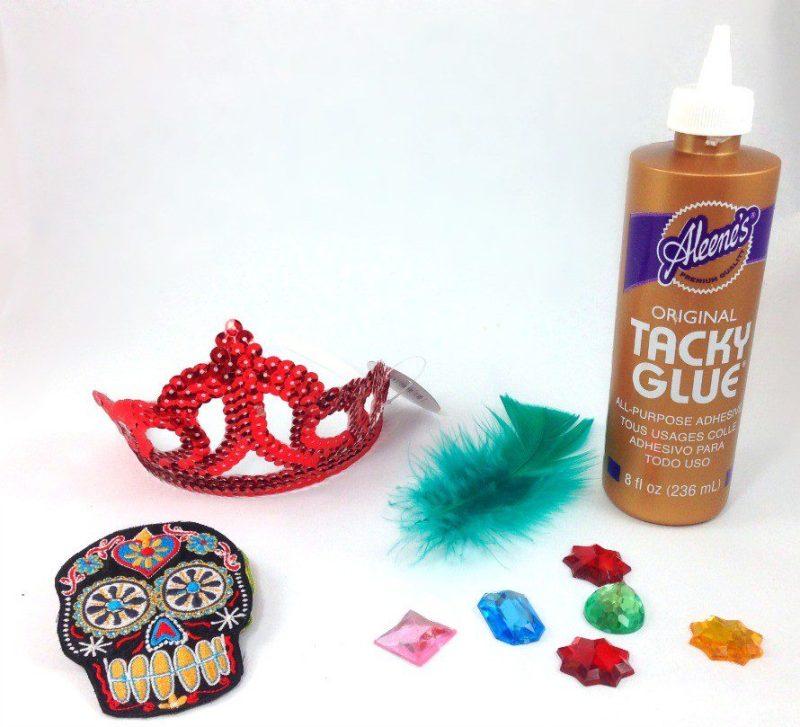 Supplies to make a Dia de los Muertos tiara By CraftyChica.com
