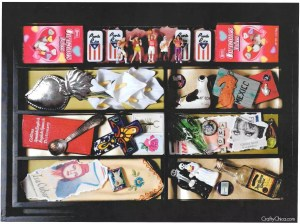 Turn a silverware tray into a shadowbox, by CraftyChica.com.