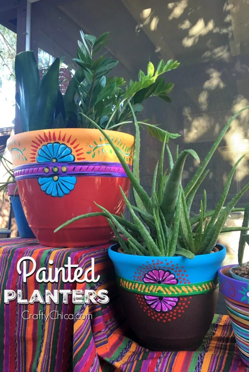 Easy Painted Planters by CraftyChica.com