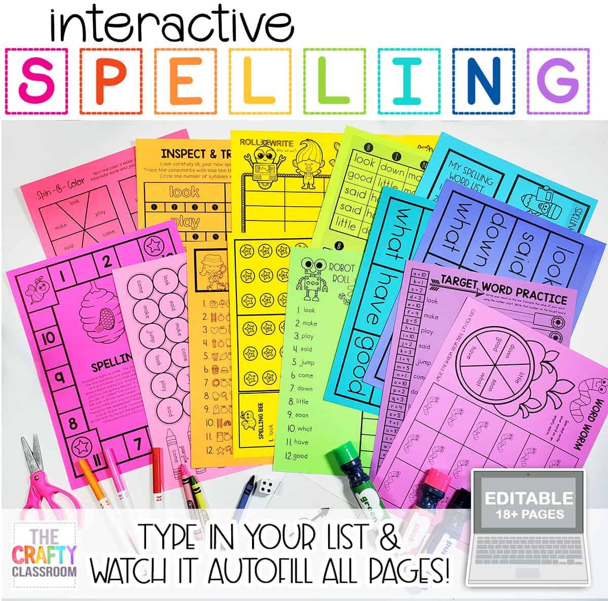 Editable Weekly Spelling List Pack