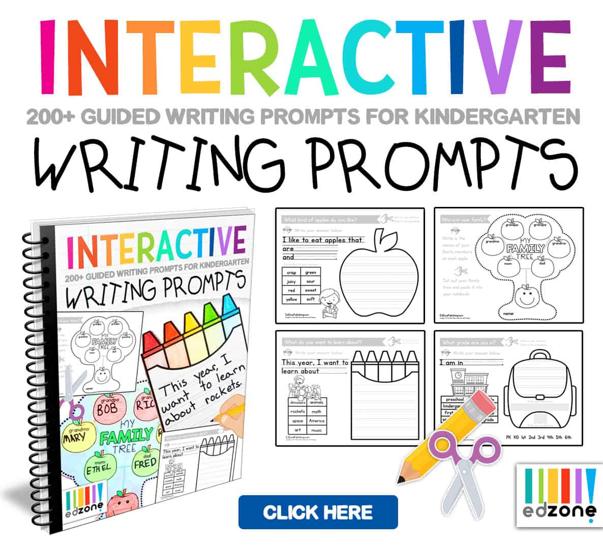 Kindergarten Writing Prompts A Year Of Interactive Guided