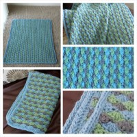Baby boy blue (and green and gray) crochet and knit blanket