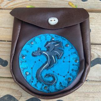 Leather tooled dragon Sporran