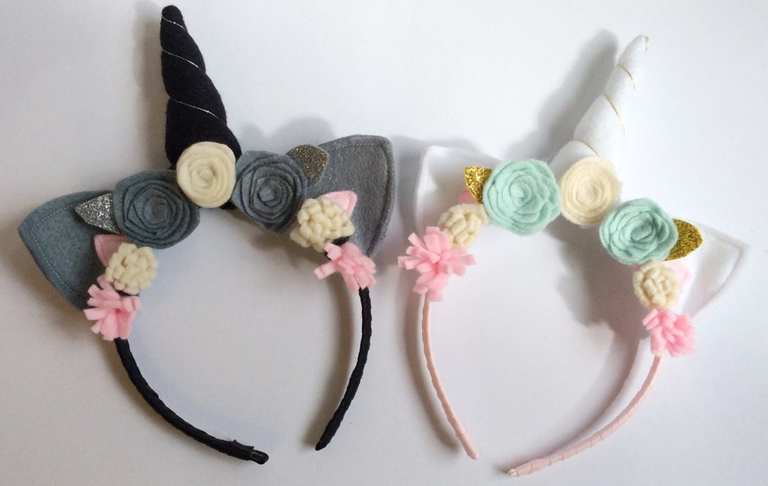 Unicorn headband set, flower crown