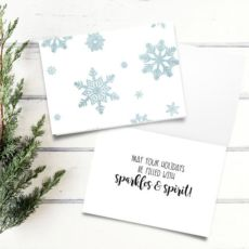 Snowflakes Blue Glitter Digital 5x7 Printable Folded Card