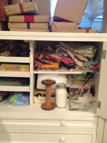 And if you think that's bad, the cabinet to the right is stuffed full of yarn. An organization project for another day.