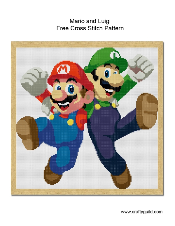 Mario and Luigi Free Cross Stitch Pattern