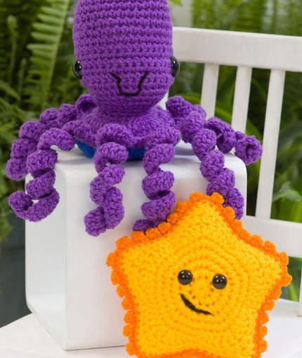 starfish amigurumi and octopus