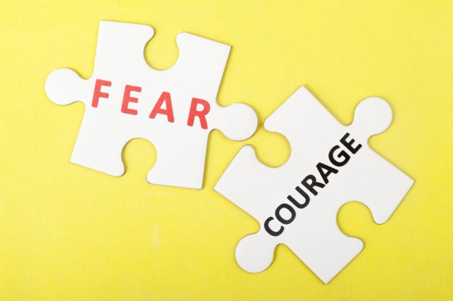 2 white jigsaw puzzles with words fear and courage written on them. Pivot in business article.