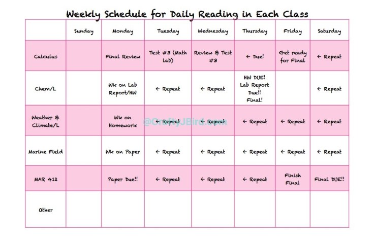 Study Schedules -- Visit CraftyJBird.com for more info...
