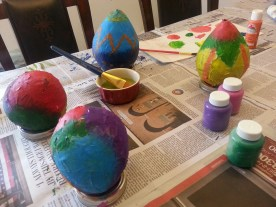 Painted Papier-mâché eggs
