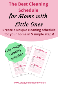 Create a unique printable cleaning schedule. Perfect for busy moms.