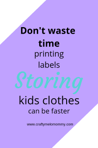 Store clothes without buying and printing lables! Use 4 items from the Dollar Tree and a storage bin! #needmoretime #noprintingstorage