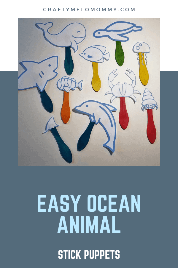 Make easy and quick ocean animal stick puppets and an ocean scene where they can play!