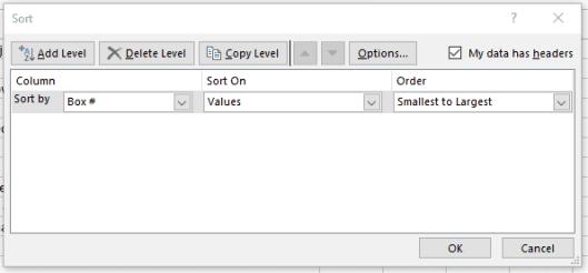 Excel sorting