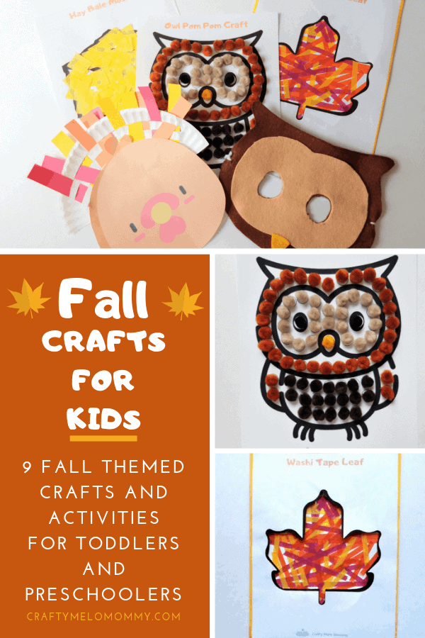 FREE PRINTABLE FALL FUN PACK! 5 easy fall crafts for kids. Great for both preschool and toddlers.