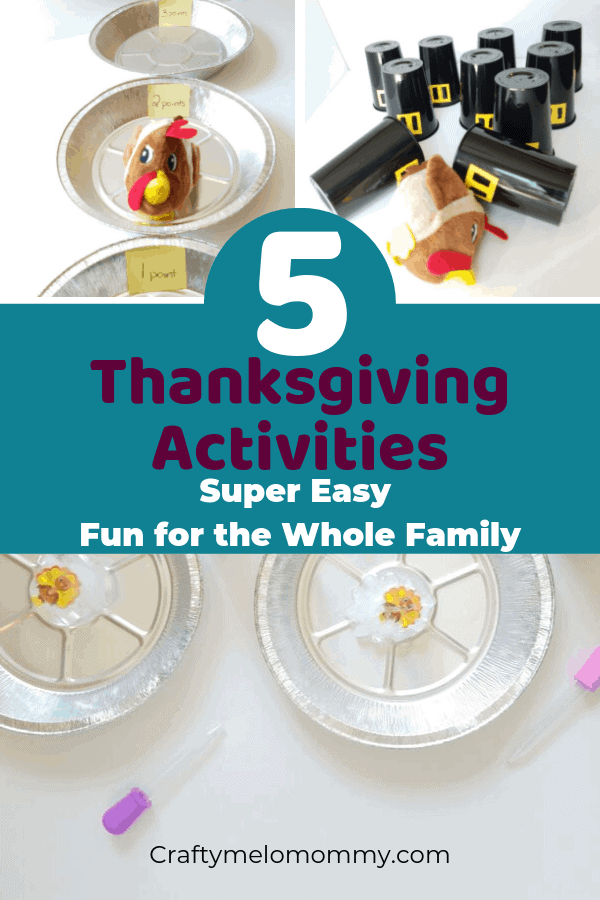 Simple and fun Thanksgiving Activities for the whole family including toddlers, preschoolers, PreK, and elementary-aged kids. These 5 Thanksgiving Activities are easy to set up and most of the supplies can be purchased at the grocery store. Keep your kids busy this Thanksgiving while you get some things done. Fun Thanksgiving Activities for kids. Easy Thanksgiving Activities| Thanksgiving Activity | Thanksgiving Activities for Kids | #ThanksgivingActivities #EasyThanksgivingActivitiesforKids
