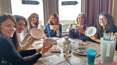 crafty birthday or hen party group pottery painting activity in northern ireland