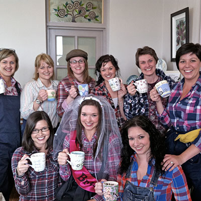 crafty hen party after pottery painting in northern ireland