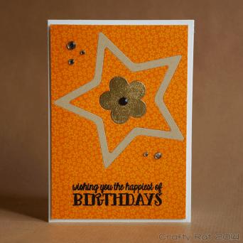 Birthday card: Inlaid stars