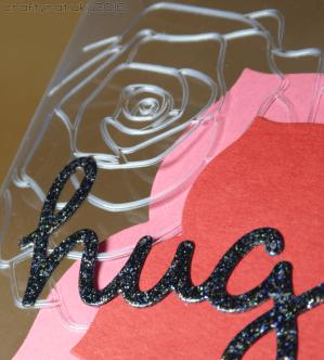 Dry embossed acetate hugs - detail