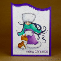 CR00281 Winter woman with fox