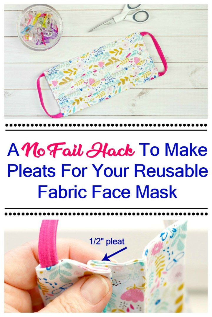 double photo pleated handmade floral fabric face mask and hand pinching pleats