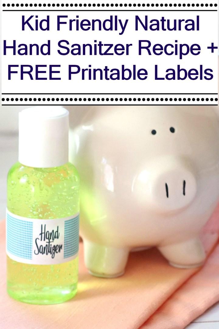 Easy Kid's Gel Hand Sanitizer Recipe piggy bank pin