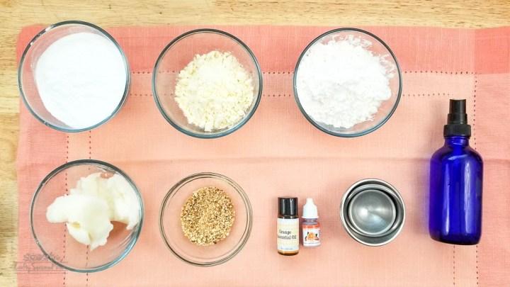 Vegan Friendly Orange Peel Bath Bombs Recipe supplies on an orange napkin