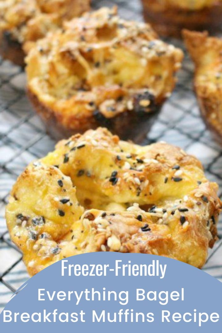 Everything Bagel Breakfast Muffins Recipe on a wire cooling rack on top of a white and blue striped napkin