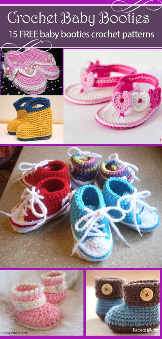 15 free baby booties crochet patterns 2