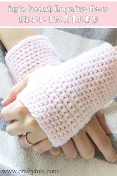 Basic Crochet Fingerless Gloves Free Pattern - Crafty Tutorials