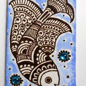 Henna Fish- Henna Canvas Painting