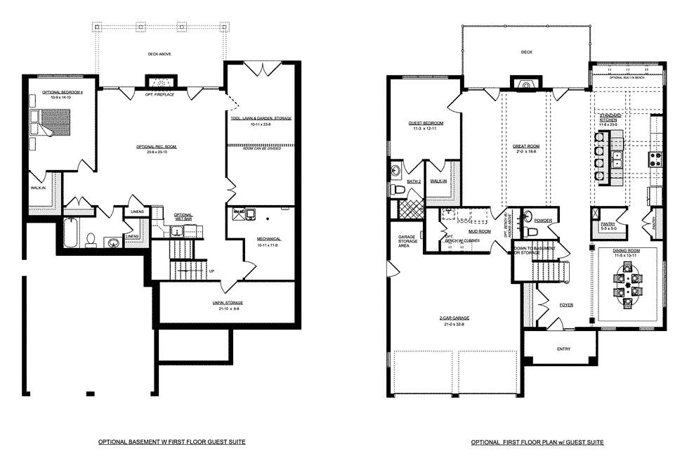 Basement plan for the Lynnhaven home plan from Craig Builders