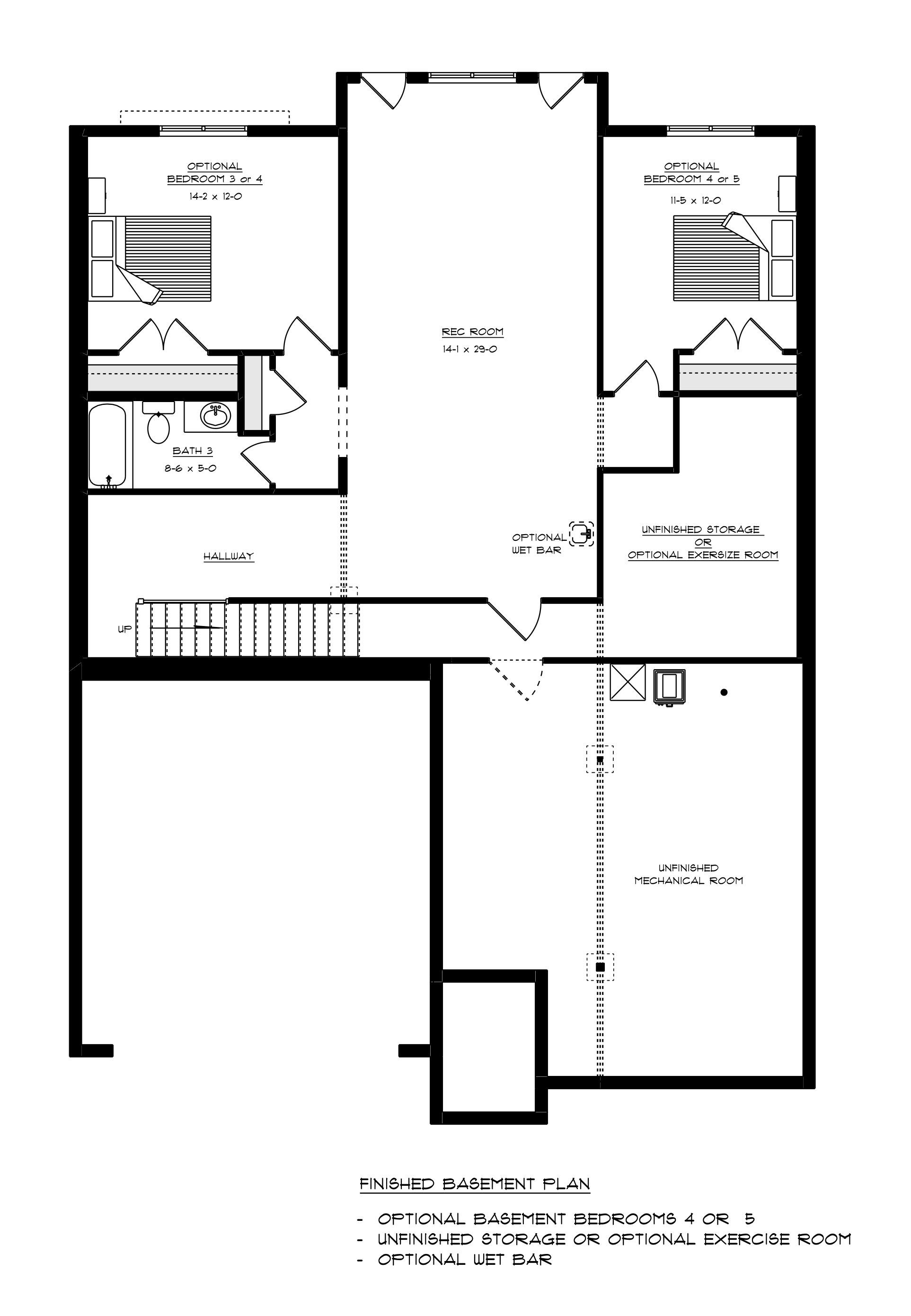 Pavilion basement floorplan with 2 bedrooms | Craig Builders