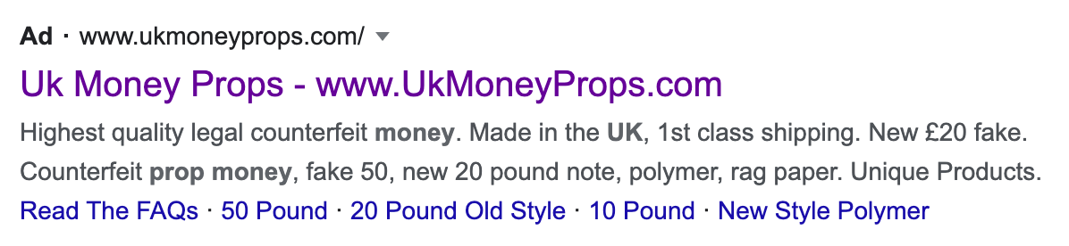 fake cash on google ads