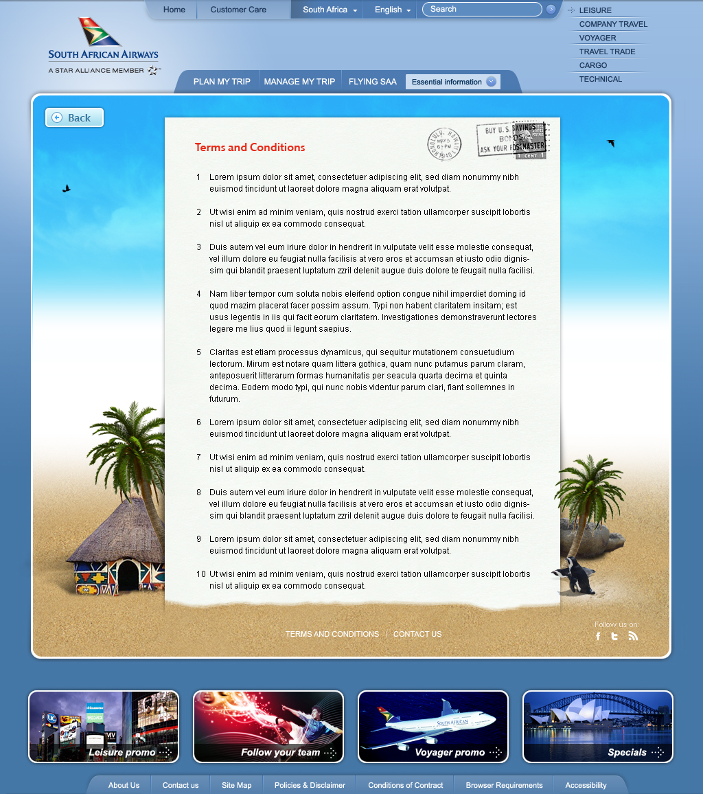 South African Airways - Serving You The World T&C's