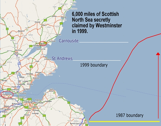 The English / Scottish maritime boundary since 1999
